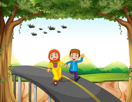 couple holding hands: Muslim couple crossing a bridge illustration Illustration