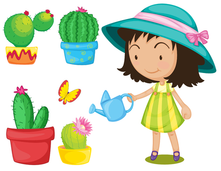 watering: Gardening set with girl watering plants illustration Illustration