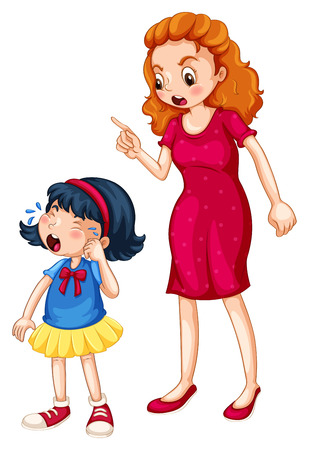 harsh: Angry mother shouting at crying daughter illustration