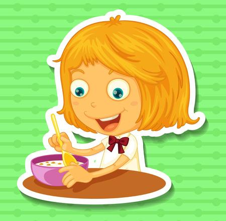 niña comiendo: Niña que come en la ilustración de mesa