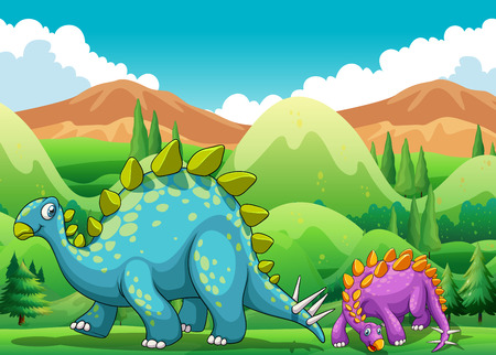 fields  grass: Cute dinosaurs walking in the field illustration