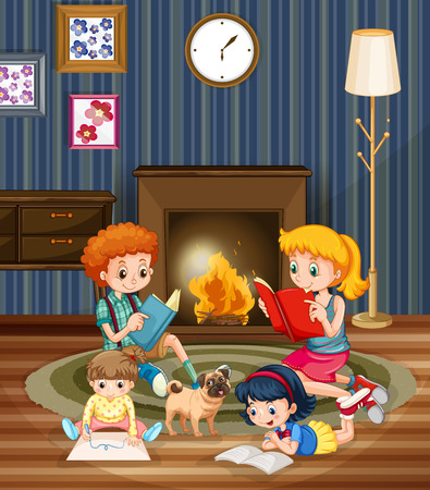 fireplace: Children reading books in the room illustration