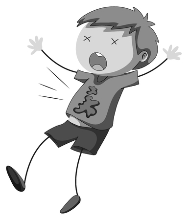 person falling: Little boy being shot illustration Illustration