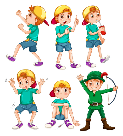 Boy in different poses illustration Иллюстрация
