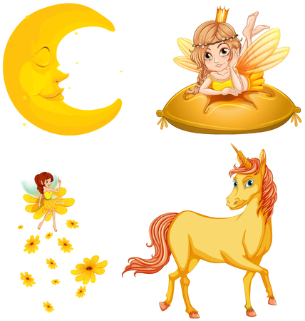 fairy: Fairy tales characters and moon illustration