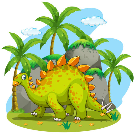 dinosaurs: Green dinosaur walking in the park illustration Illustration