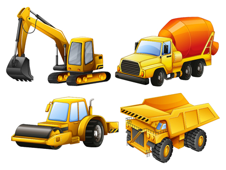 yellow tractors: Tractors and bulldozers in yellow illustration