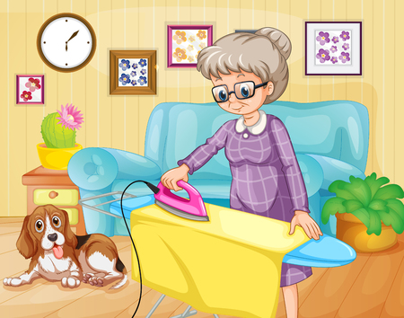 the iron lady: Old woman ironing clothes in a room illustration Illustration