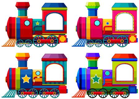 locomotora: Los trenes en diferentes colores Ilustración Vectores