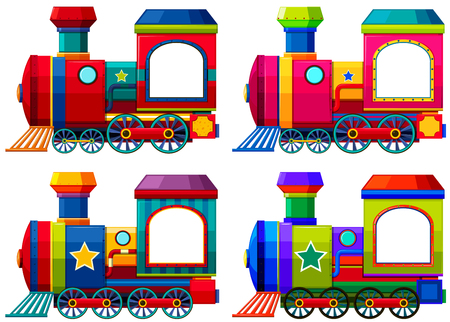 Trains in different colors illustration