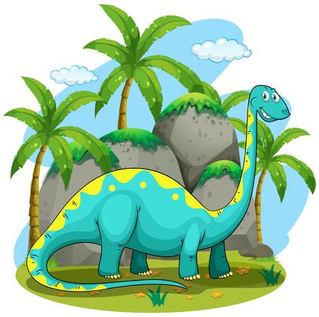 dinosaurio caricatura: Cuello largo dinosaurio de pie en la ilustración de campo