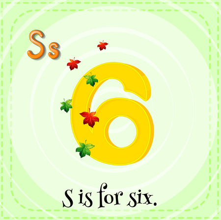 numbers clipart: Flashcard letter S is for six illustration