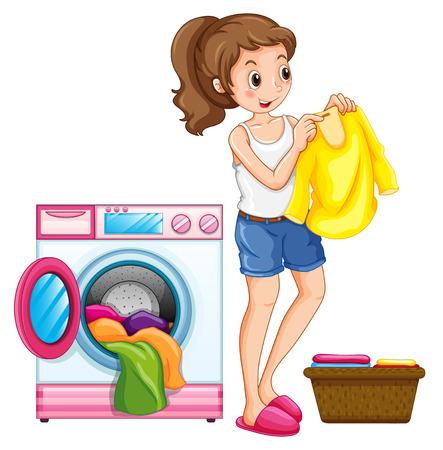 cartoon washing: Woman washing clothes in the house illustration