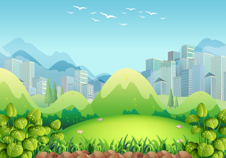 garden city: Nature scene with buildings in the background illustration