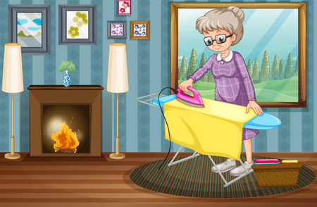 old furniture: Old lady ironing clothes in the house illustration