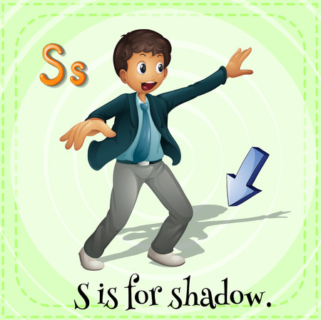 s tie: Flashcard alphabet S is for shadow illustration