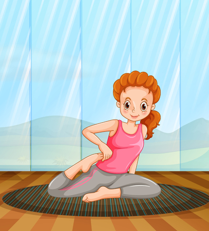 indoor sport: Woman doing yoga in the room illustration