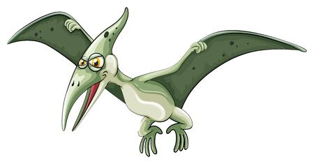dinosaur clipart: Flying dinosaur on white illustration