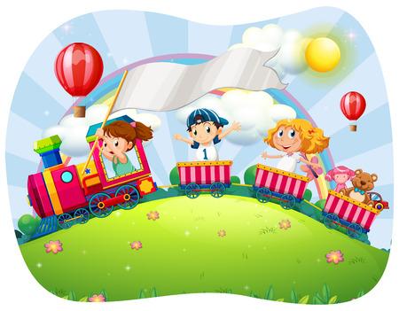 tren caricatura: Los niños que viajan en tren en la ilustración día