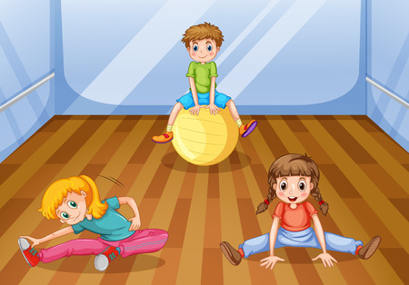 stretching exercise: Children exercising in the room illustration Illustration