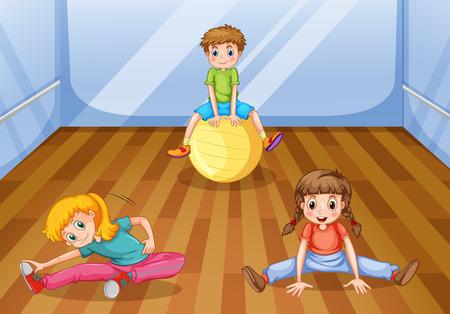 Children exercising in the room illustration Illustration