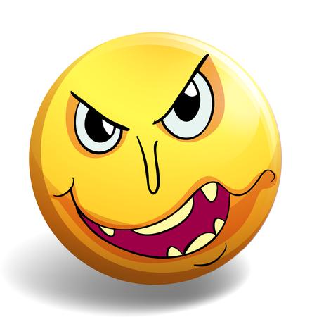 monster face: Monster face on yellow ball illustration