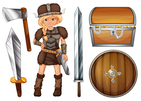 warrior pose: Female viking with weapons and chest illustration Illustration