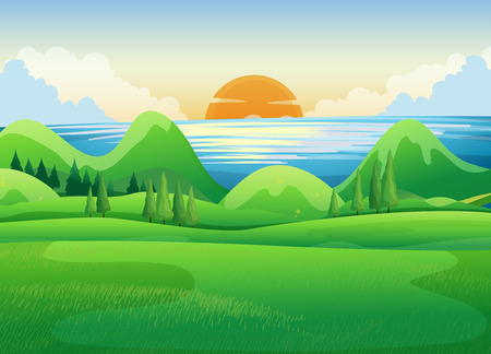 Green field at sunset illustration