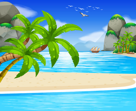 ocean view: Ocean view with sail floating on water illustration