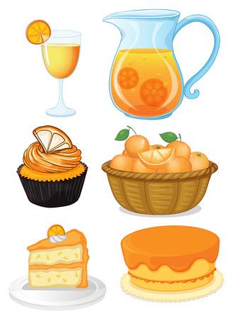 fruit basket: Set of orange desserts and juice illustration Illustration