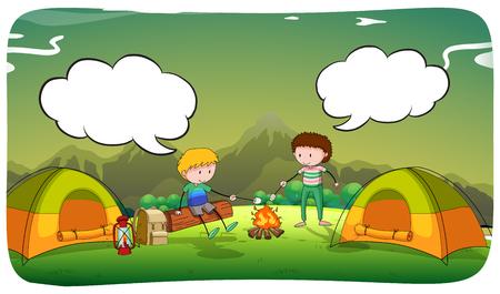 adentro y afuera: Niños acampar en la ilustración de campo
