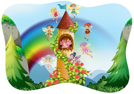Fairies flying around the castle illustration Illustration