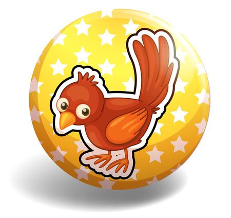 little bird: Little bird on yellow badge illustration