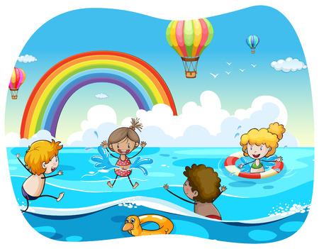 children swimming: Children swimming in the ocean illustration