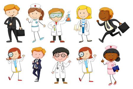 lekarz: Mężczyzna i kobieta z różnych zawodach ilustracji