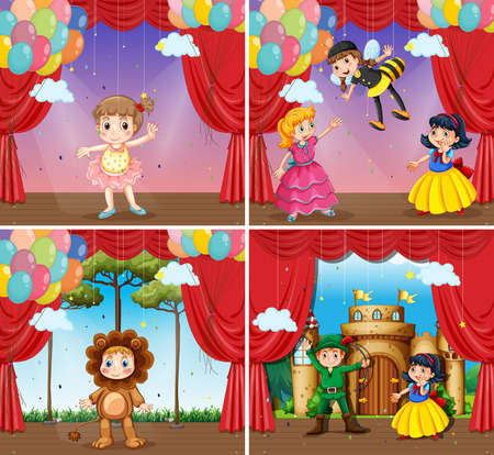 stage costume: Four scenes of children doing stage plays illustration