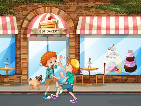 kampfhund: Zwei Jungen Kämpfe in der Straße Illustration