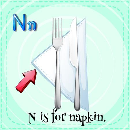 letter alphabet pictures: Flashcard alphabet N is for napkin illustration
