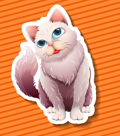 long haired: Long haired cat smiling illustration