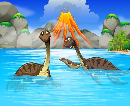 호수의 그림에서 수영 공룡 일러스트