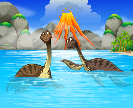 long lake: Dinosaurs swimming in the lake illustration
