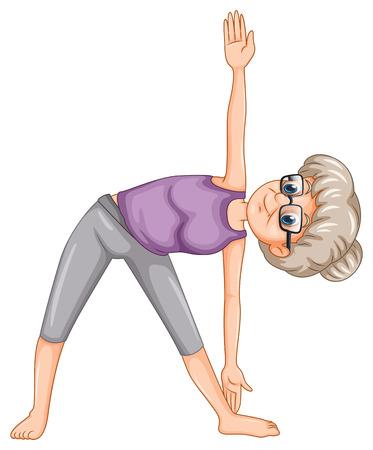 ヨガのイラストの老婦人