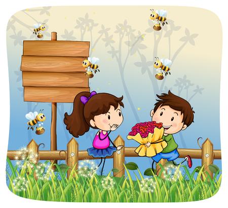 girl illustration: Boy giving flowers to girl illustration