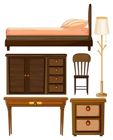 wooden furniture: Wooden furniture in classic design illustration