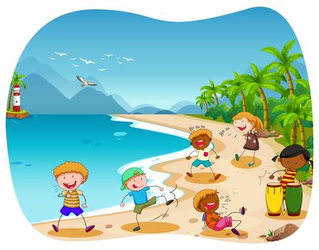 niñas jugando: Niños jugando en la playa ilustración