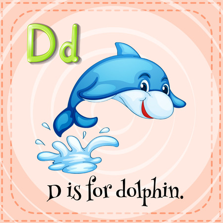 d: Flashcard letter D is for dolphin illustration