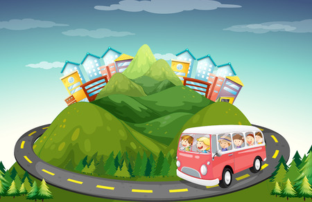 roadtrip: People riding in van up the mountain illustration Illustration