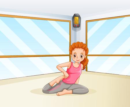 mujeres felices: Mujer que hace yoga en la ilustración de la habitación Vectores