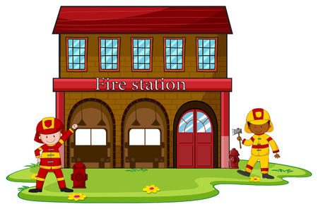 Firemen working at the fire station illustration Illustration