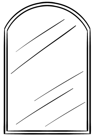 Glass mirror with frame illustration